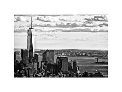 One World Trade Center and Statue of Liberty Views, Manhattan, New York, White Frame