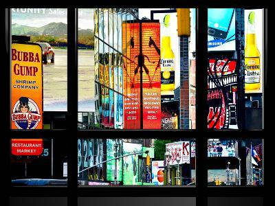 Window View, Special Series, Advertising Signs in Times Square, Manhattan, New York, US, USA