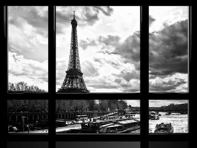 Window View, Special Series, Eiffel Tower and the Seine River, Paris, Black and White Photography