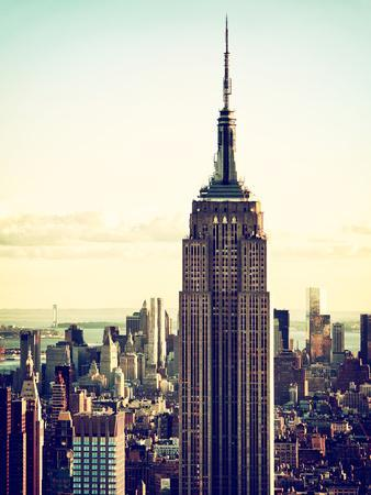 Empire State Building from Rockefeller Center at Dusk, Manhattan, New York City, US, Vintage
