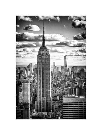 Cityscape, Empire State Building and One World Trade Center, Manhattan, NYC, White Frame