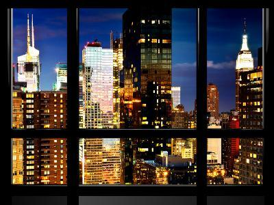 Window View, Skyscrapers View by Nightfall, Times Square, Midtown Manhattan, NYC