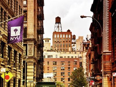 Architecture and Buildings, Greenwich Village, Nyu Flag, Manhattan, New York City, US, Art Colors