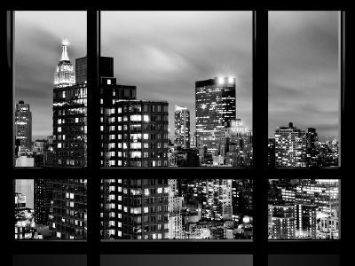 Window View, Empire State Building and New Yorker Hotel Views by Night, Times Square, NYC