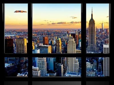 Window View, Empire State Building and One World Trade Center (1WTC), Manhattan, New York