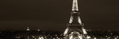 Panoramic Cityscape Paris with Eiffel Tower at Night - Sepia - Tone Photography