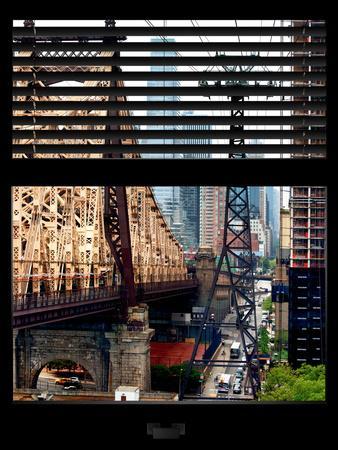 Window View with Venetian Blinds: Roosevelt Island Tram and Ed Koch Queensboro Bridge