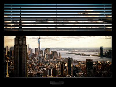 Window View with Venetian Blinds: Cityscape Manhattan with Empire State Building (1 WTC)