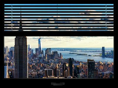 Window View with Venetian Blinds: Landscape Manhattan with Empire State Building (1 WTC)