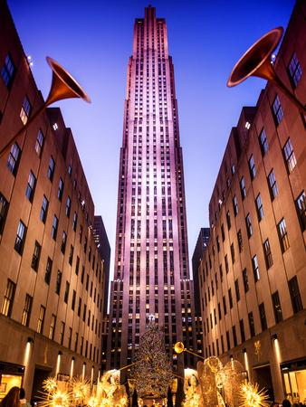 The Rockefeller Center with Christmas Decoration at Nightfall