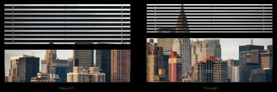 Window View with Venetian Blinds: Skyscrapers and Buildings with the Chrysler Building at Manhattan