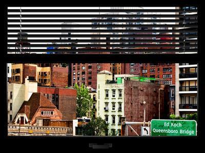 Window View with Venetian Blinds: Queensboro Bridge Sign