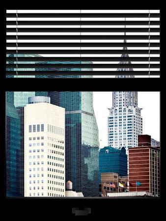 Window View with Venetian Blinds: View of the Top of the Chrysler Building