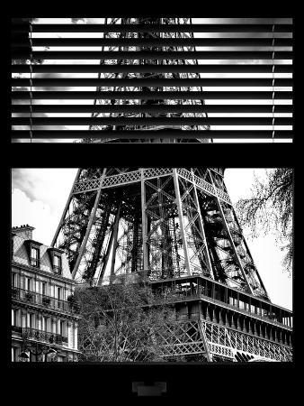 Window View with Venetian Blinds: the Eiffel Tower View - Paris, France