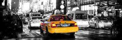 Panoramic Urban View - Yellow Cab on 7th Avenue at Times Square by Night