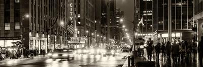 Panoramic View - Urban Street View on Avenue of the Americas by Night