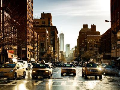 Urban Street Scene with NYC Yellow Taxis and One World Trade Center of Manhattan, Sunset in Winter