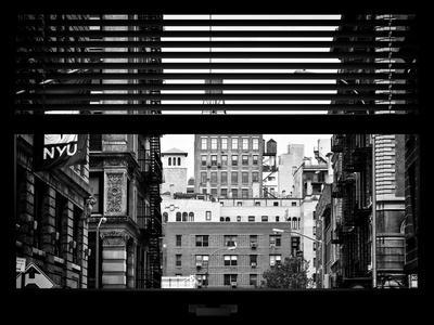 Window View with Venetian Blinds: View NYU Flag