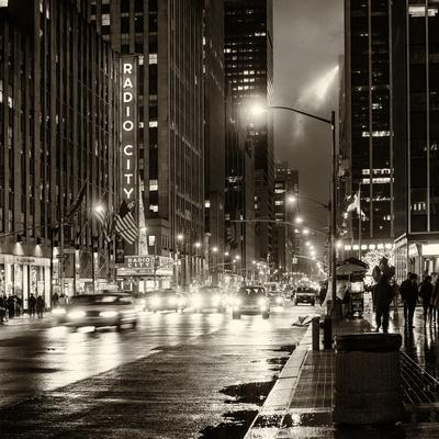 Urban Street View on Avenue of the Americas by Night