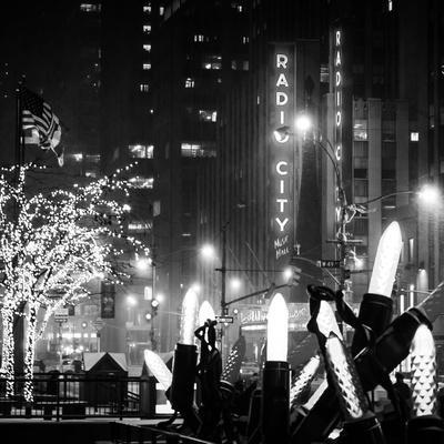 Christmas Decorations in front of the Radio City Music Hall in the Snow on a Winter Night