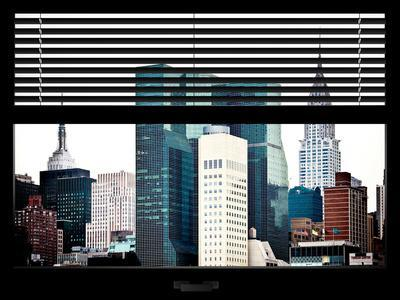 Window View with Venetian Blinds: the Empire State Building and the Chrysler Building