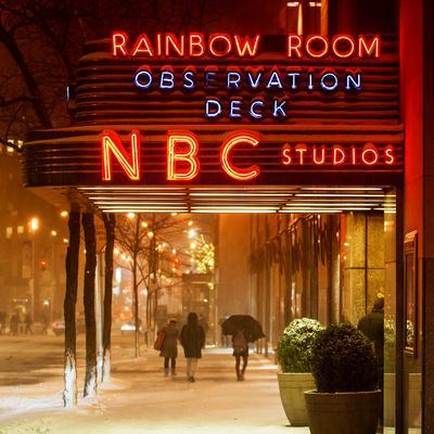 The NBC Studios in the New York City in the Snow at Night