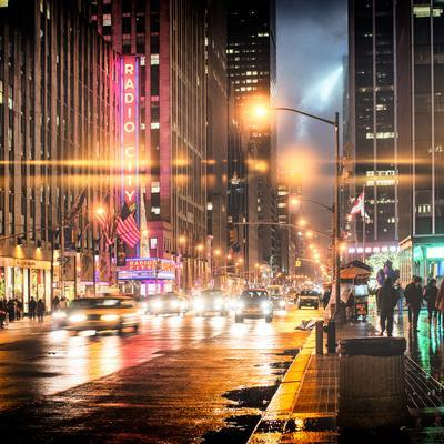 Instants of NY Series - Urban Street View on Avenue of the Americas by Night