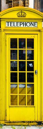 Red Phone Booth painted Yellow in London - City of London - UK - England - Photography Door Poster