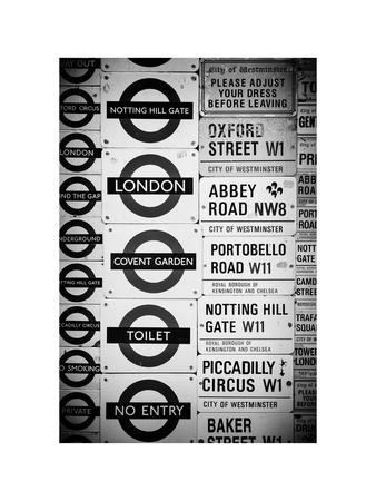 Antique Enamelled Signs - Subway Station Signs - Wall Signs - Notting Hill - London - UK - England