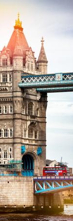 Tower Bridge with Red Bus in London - City of London - UK - England - United Kingdom - Door Poster