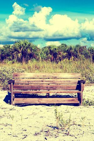 Wooden Bench overlooking a Florida wild Beach