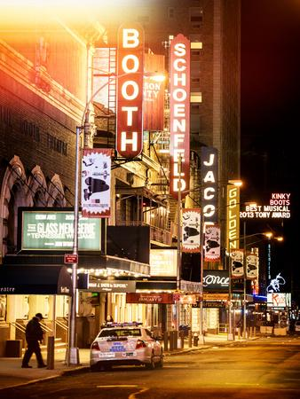 Instants of NY Series - The Booth Theatre at Broadway - Urban Street Scene by Night with a NYPD