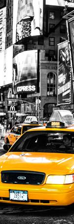 Door Posters - NYC Yellow Taxis / Cabs in Times Square by Night - Manhattan - New York