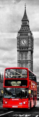 London Red Bus and Big Ben - City of London - UK - England - Photography Door Poster