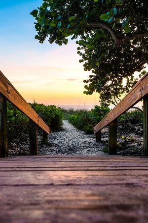 Boardwalk on the Beach at Sunset - Florida