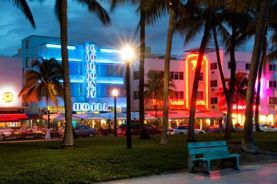 Art Deco Architecture of Ocean Drive - Miami Beach - Florida