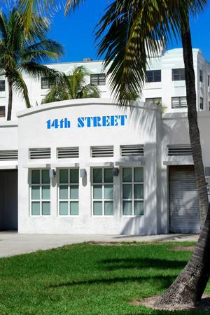 Art Deco Architecture of Ocean Drive - 14th Street Sign - Miami Beach - Florida