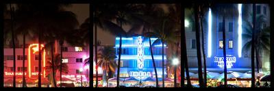Triptych Collection - Buildings Lit Up at Dusk of Ocean Drive - Miami Beach - Florida