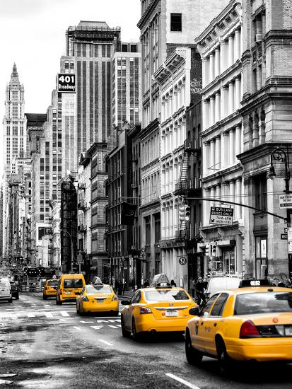 Yellow Taxis Cabs On Broadway Avenue