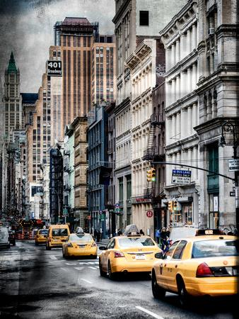Instants of NY Series - NYC Yellow Taxis / Cabs on Broadway Avenue in Manhattan - New York City