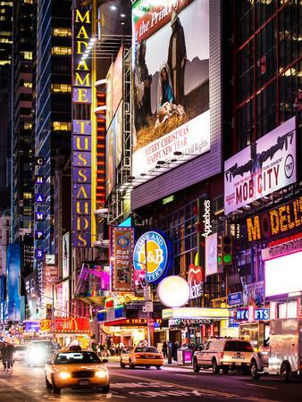 NYC Urban Scene with Yellow Taxis by Night - 42nd Street and Times Square - Manhattan - New York