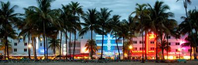 Buildings Lit Up at Dusk - Ocean Drive - Miami Beach