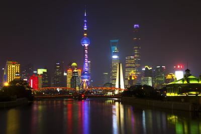 China 10MKm2 Collection - Shanghai Skyline with Oriental Pearl Tower at night