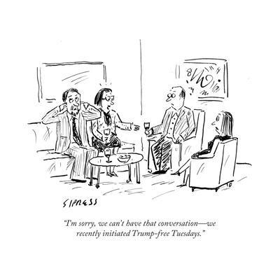 """""""I'm sorry, we can't have that conversationÑwe recently initiated Trump-frÉ"""" - Cartoon"""