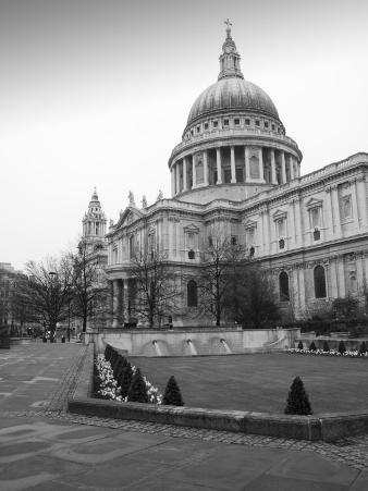Black and White Image of St Paul's Cathedral, London, England, United Kingdom, Europe
