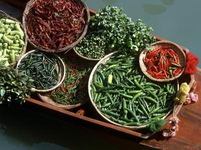 An Assortment of Chillies, a Staple Ingredient of Thai Cooking, in Floating Market in Thailand