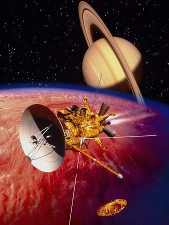 Artwork of the Cassini Spacecraft Near Titan