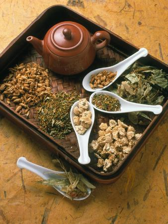 Assortment of Herbal Teas on a Tray