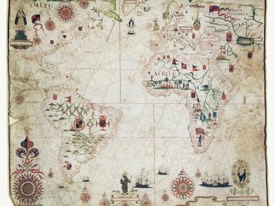 17th Century Nautical Map of the Atlantic