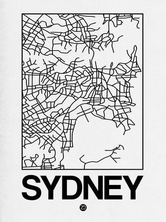 White Map of Sydney